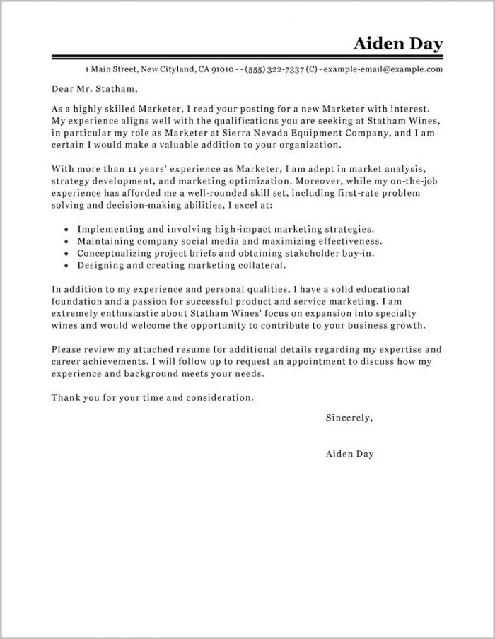 Cover Letter Examples For Resume Marketing