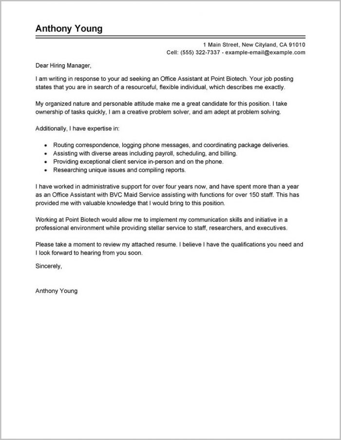 Cover Letter For Admin Job Examples