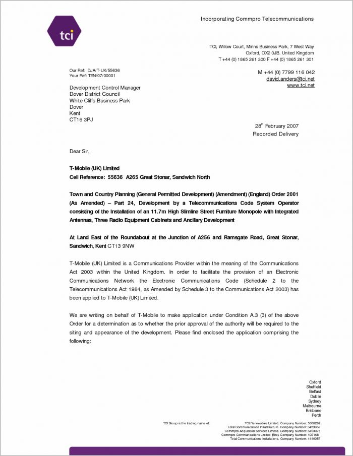 Cover Letter For Job Application Example Uk