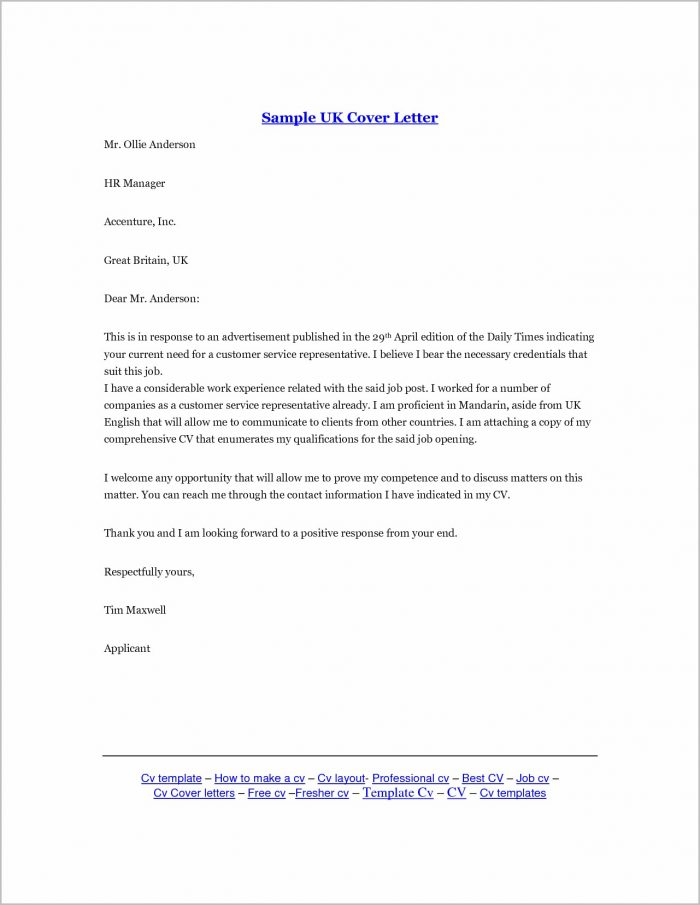Cover Letter For Job Example Uk