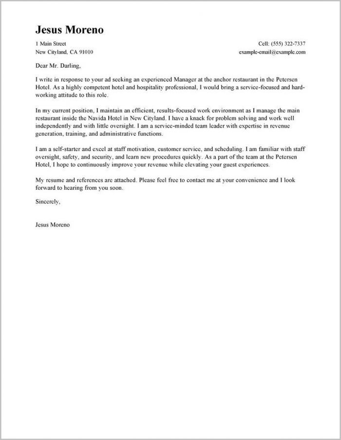 Cover Letter For Job In Hotel Example
