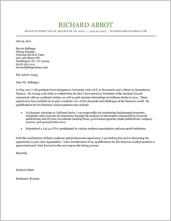 Cover Letter For Resume Examples For Students
