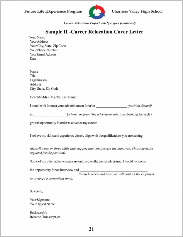Cover Letter For Resume Relocation Samples