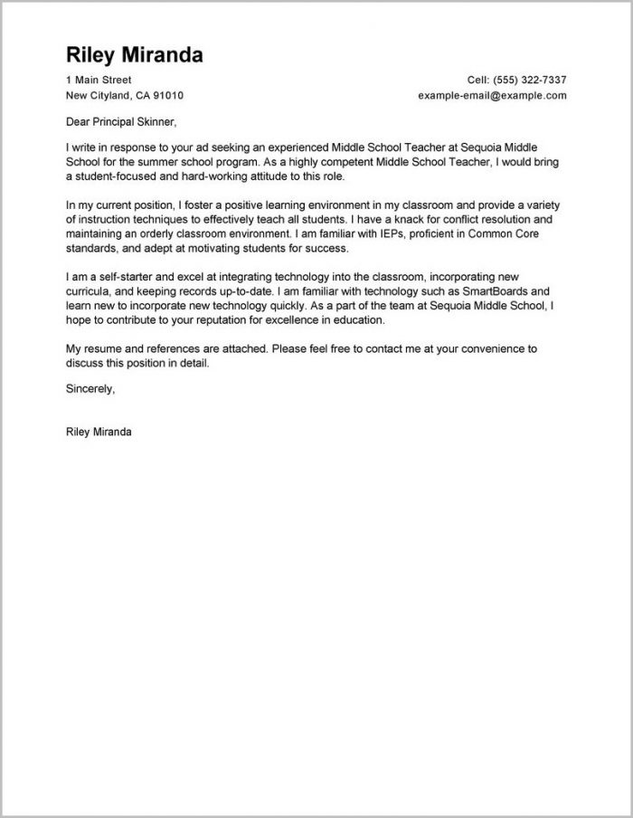 Cover Letter For Summer Job Examples