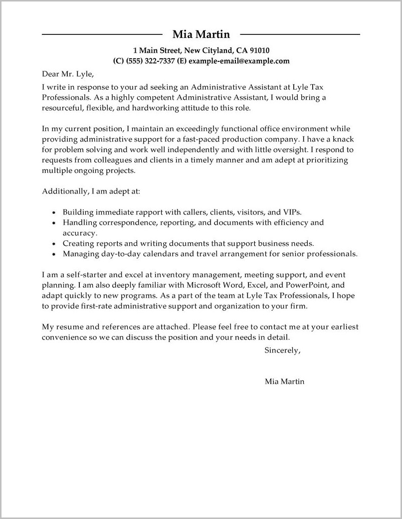 Cover Letters For Job Examples