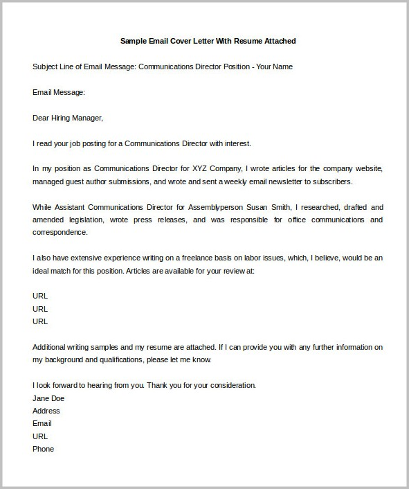 Email Cover Letter For Job Example