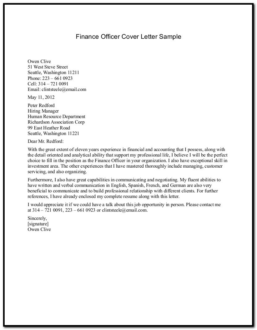 Financial Aid Officer Cover Letter Sample