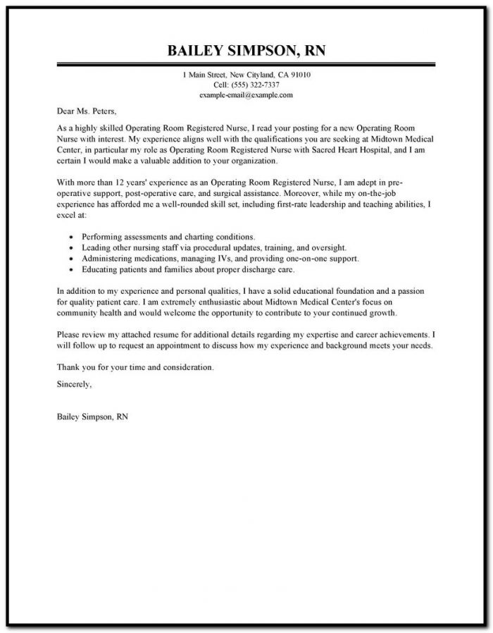 Operating Room Nursing Email Cover Letter Free Template