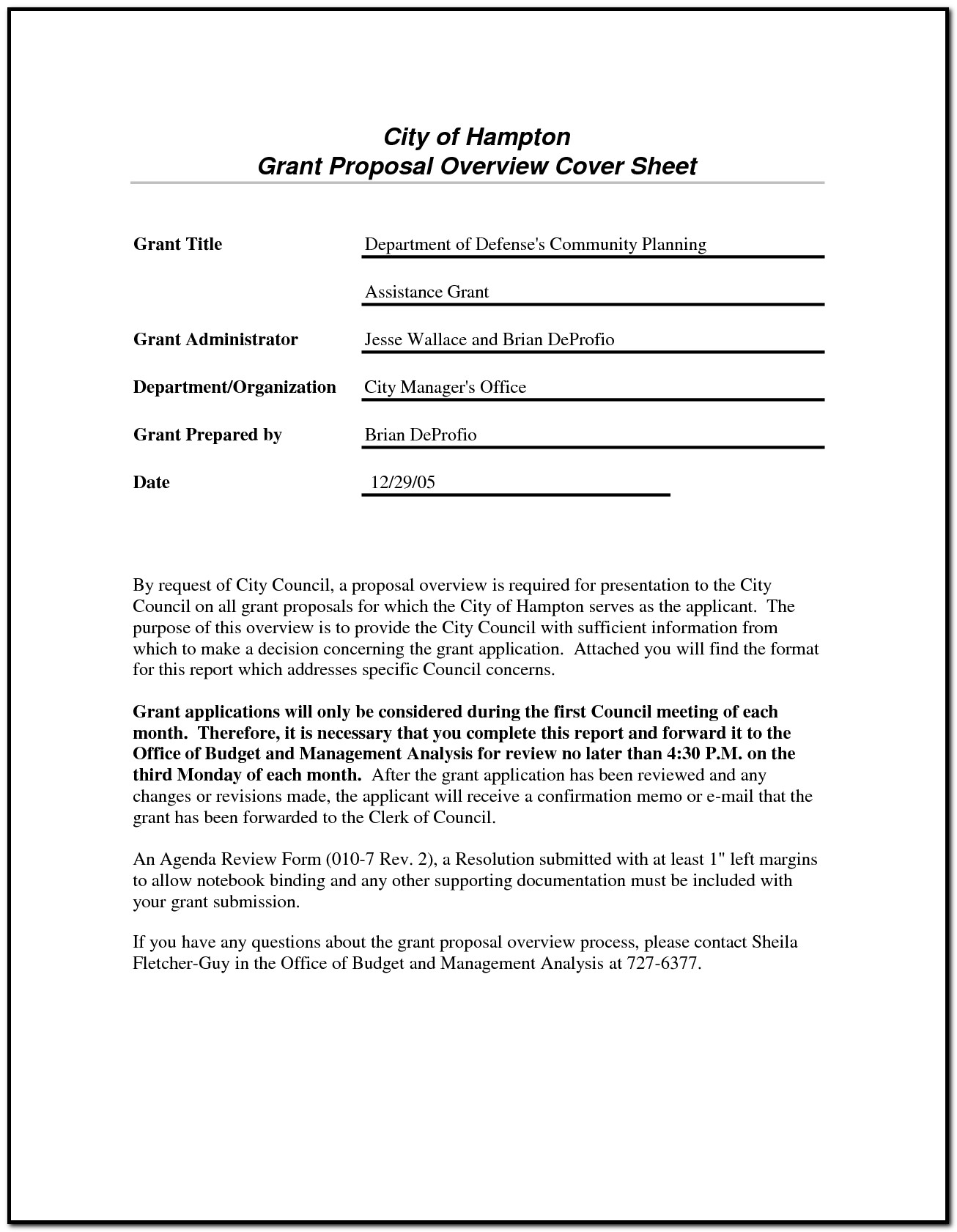 Sample Cover Letter For A Grant Proposal