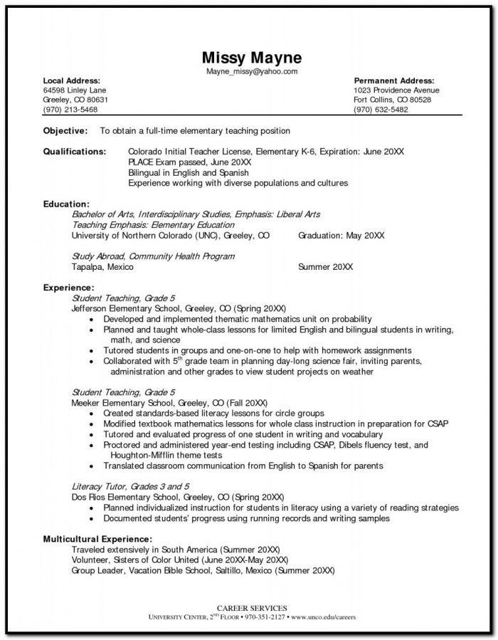 Sample Resume For Elementary Teacher Sample Resume Template The Most Elementary Teacher Resume Format
