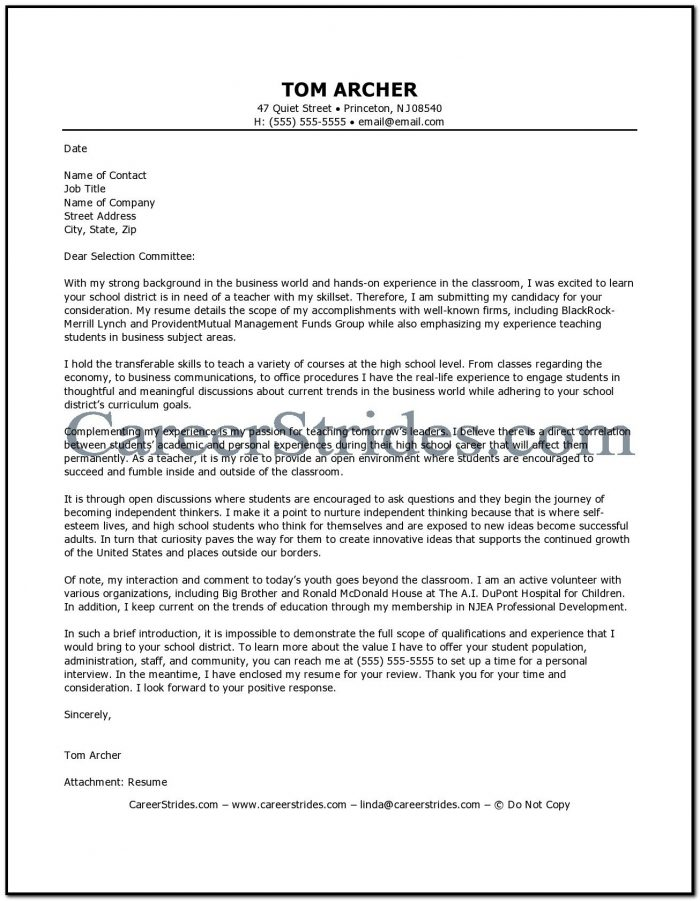 Sample Cover Letter For Business Teacher