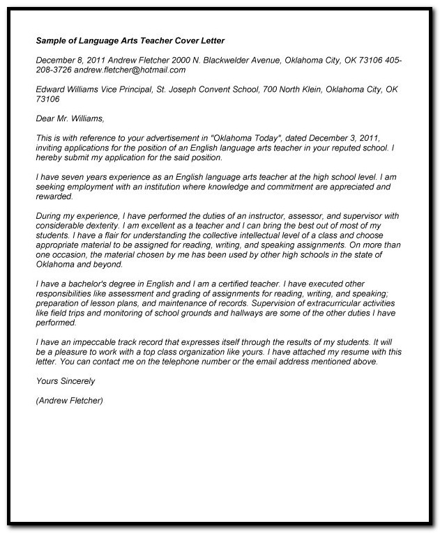 Sample Cover Letter For Language Arts Teacher - Cover ...