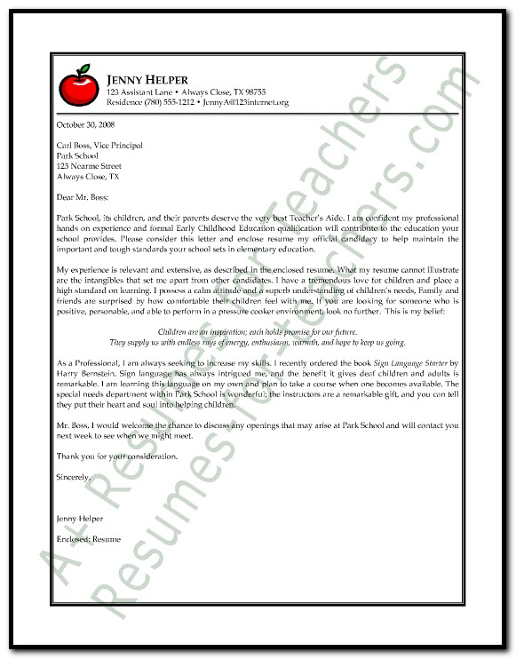 Sample Cover Letter For Preschool Assistant Teacher