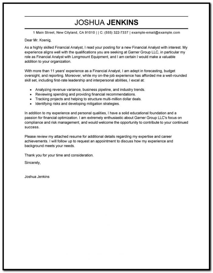 Sample Cover Letter For Resume Business
