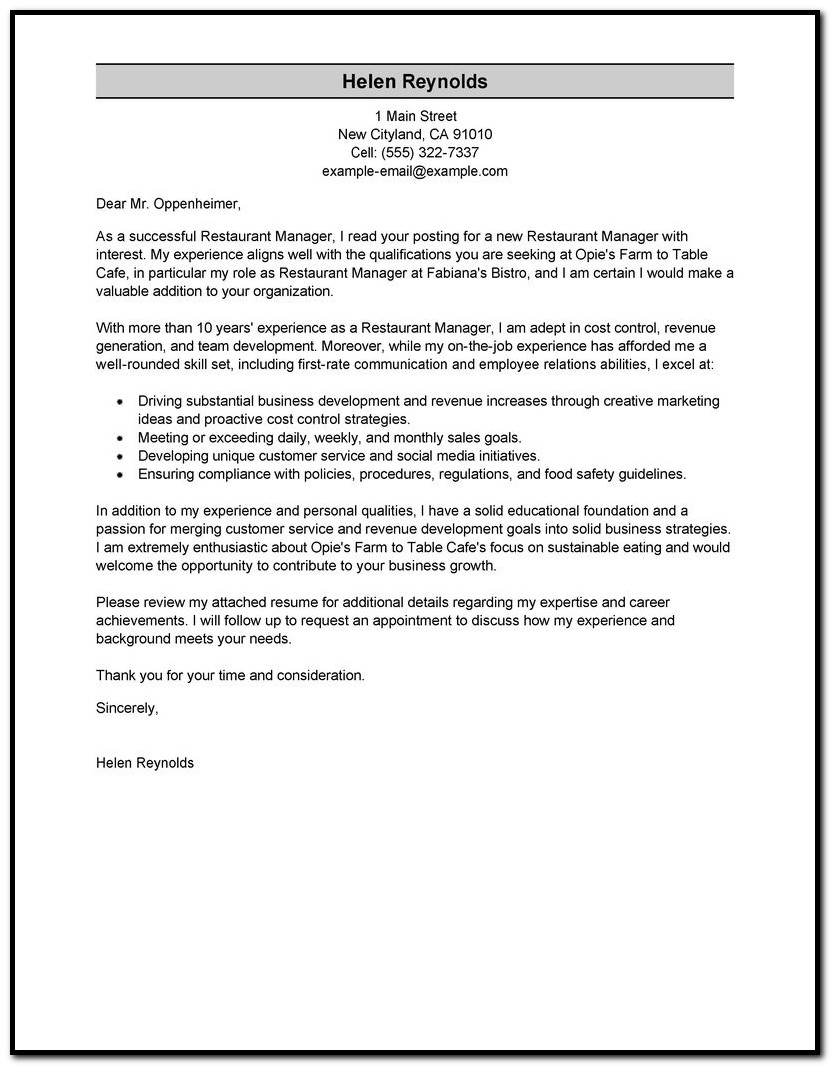 Sample Cover Letter For Resume Director