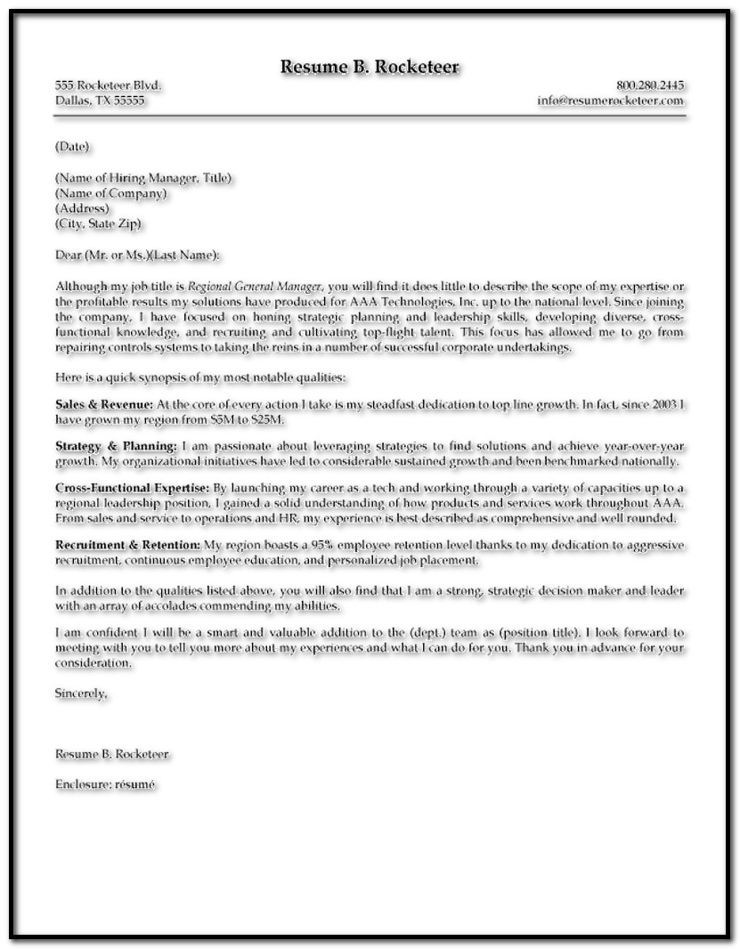 Sample Cover Letter For Resume Executive Director