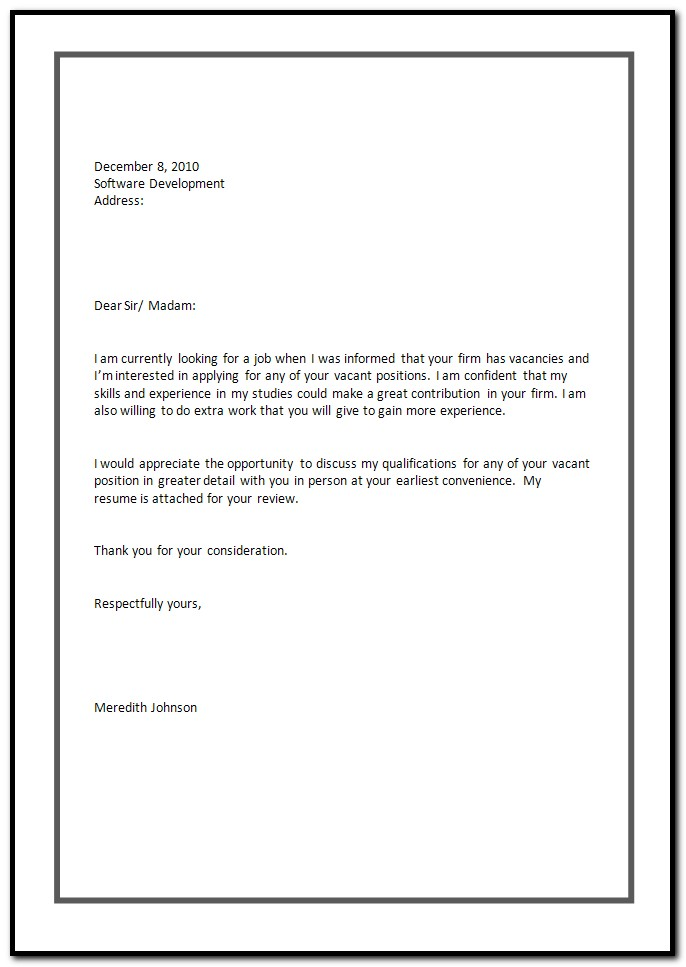 Sample Cover Letter For Resume Job Application