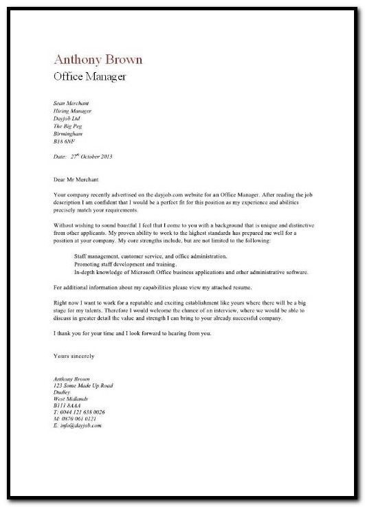 Sample Cover Letter For Resume Office Manager