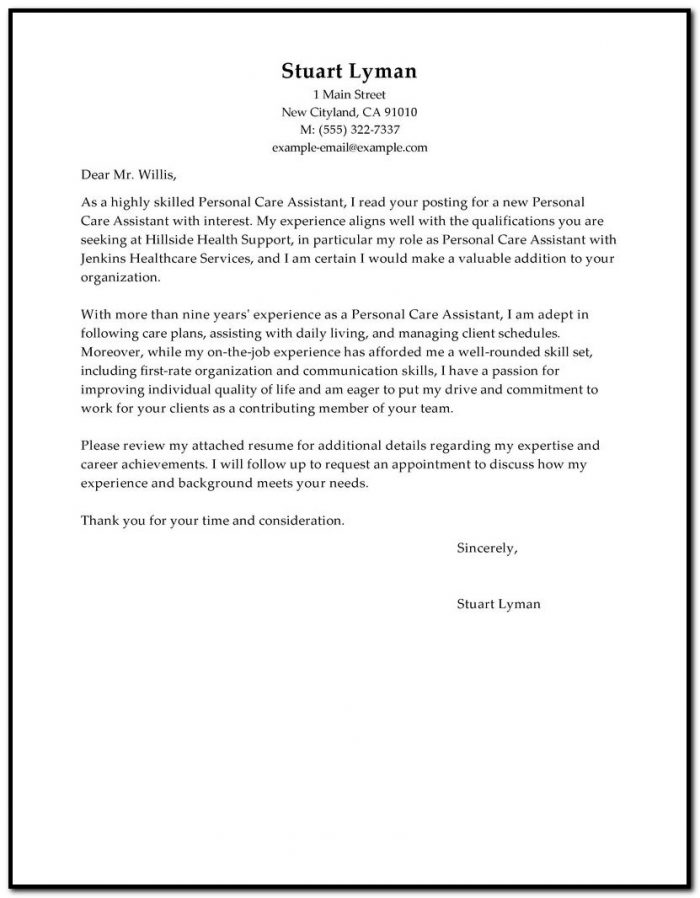 Sample Cover Letter For Resume Personal Assistant