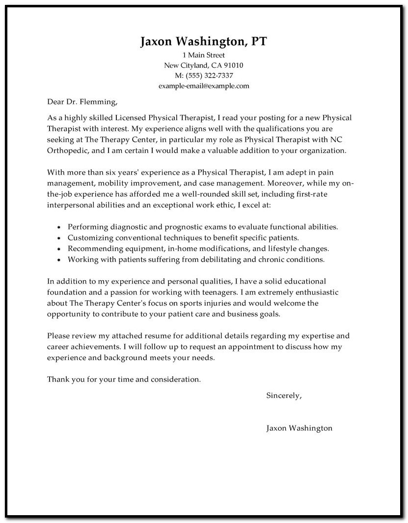 Sample Cover Letter For Resume Physical Therapist