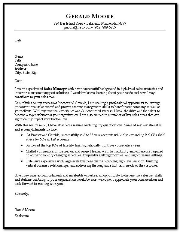 Sample Cover Letter For Resume Sales