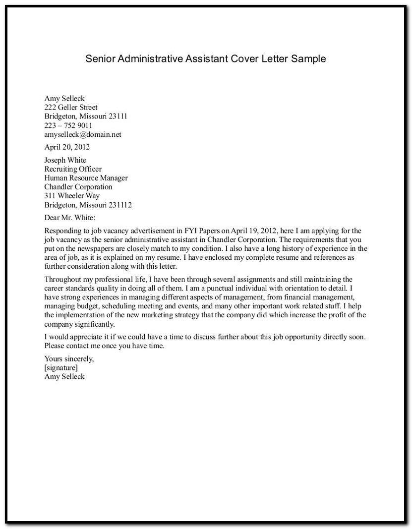 Sample Cover Letter For Resume With Reference