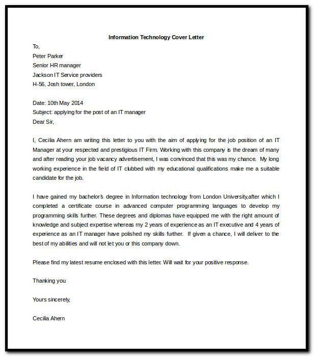 Sample Cover Letter For Resume Word Doc