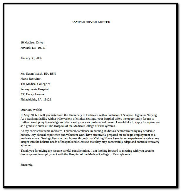 Sample Cover Letter For Resume Word