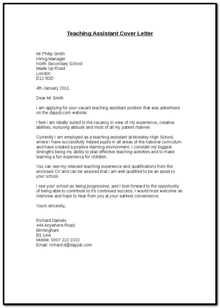 Sample Cover Letters For Teaching Assistant Positions