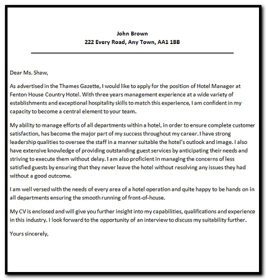 Sample Of Cover Letter For Resume For Hotel