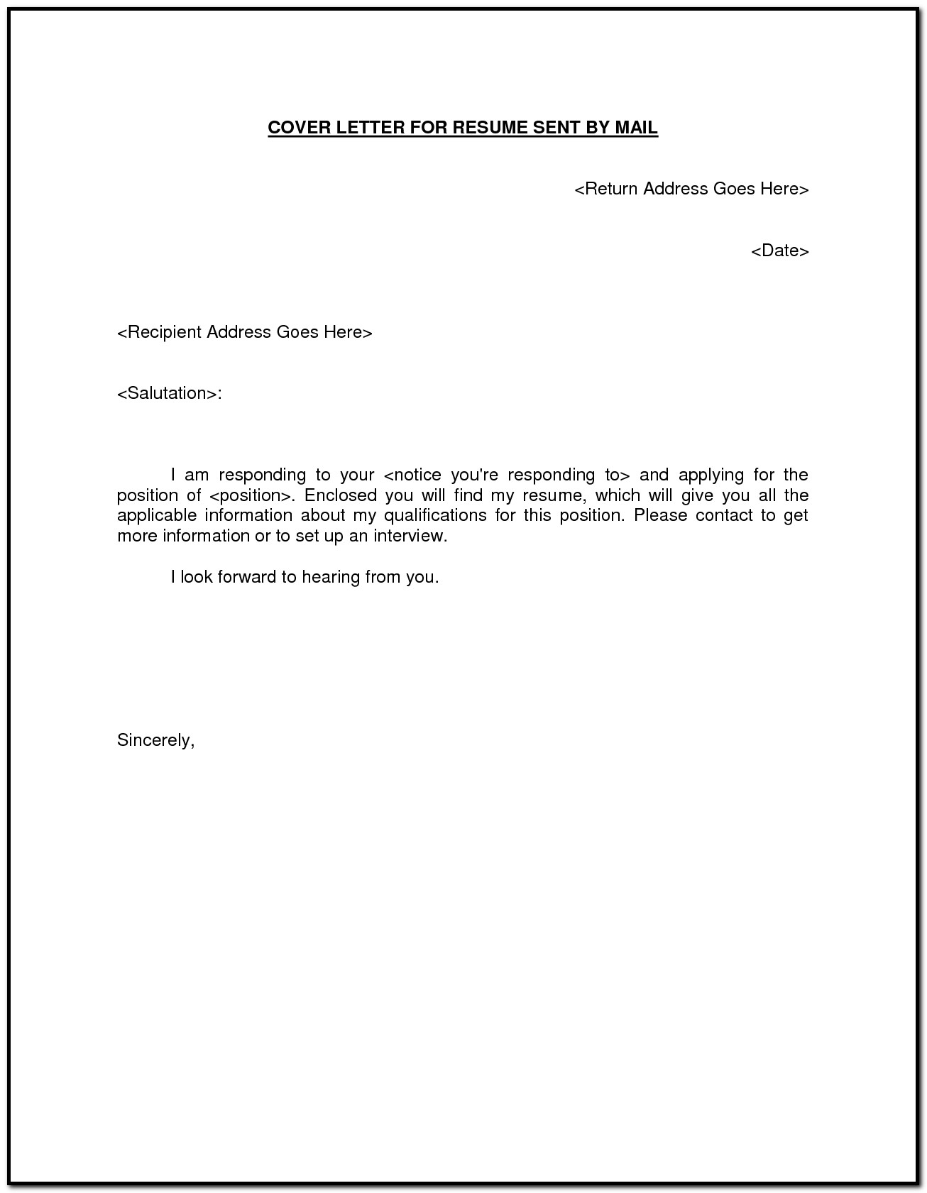 Sample Of Cover Letter For Sending Resume