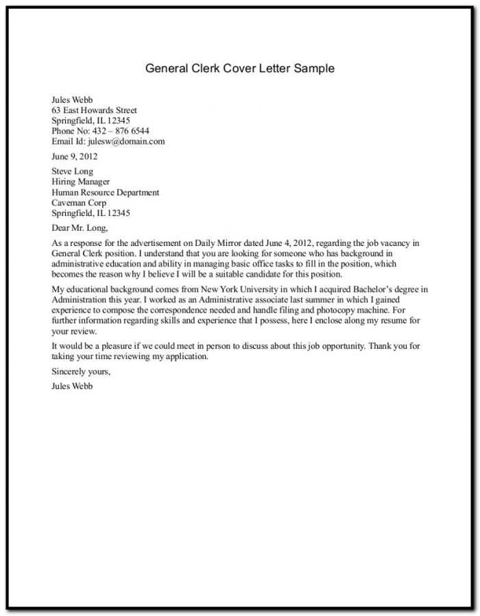 Samples Cover Letter For Resume General