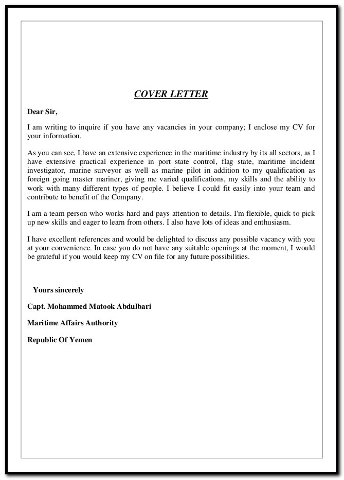 Samples Of Cover Letters For Resumes