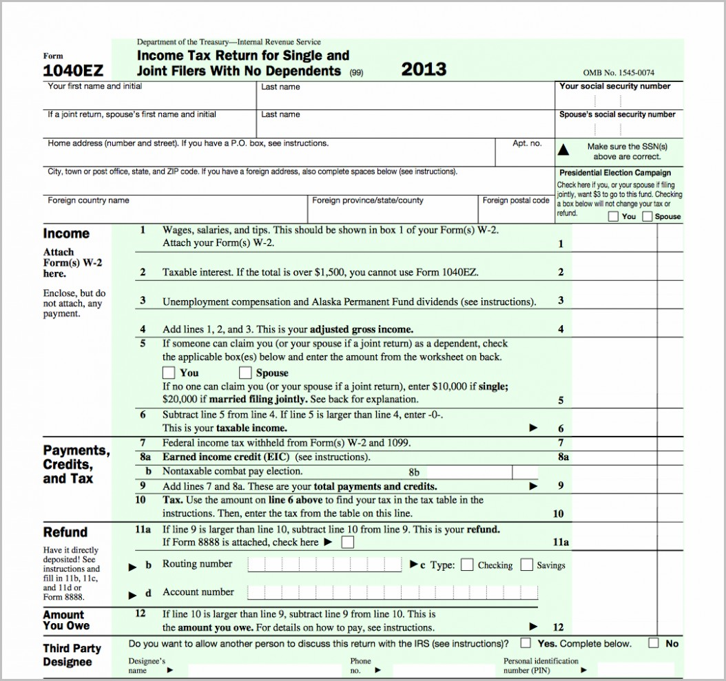 1040ez Form 2014 Irs