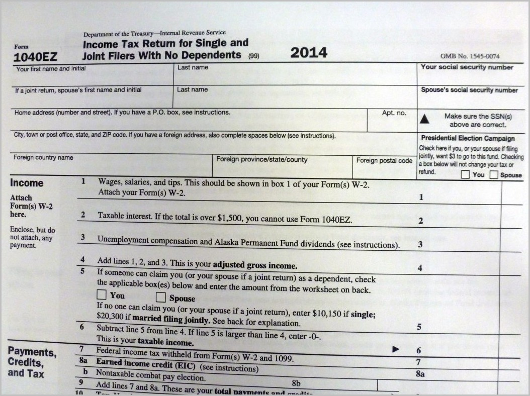 1040ez State Tax Form 2014