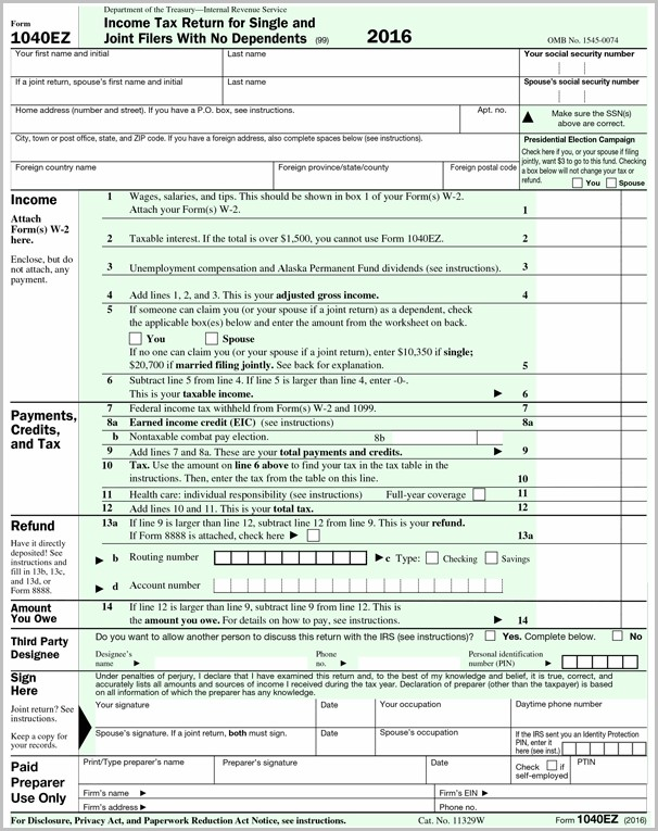 1040ez Tax Forms 2016