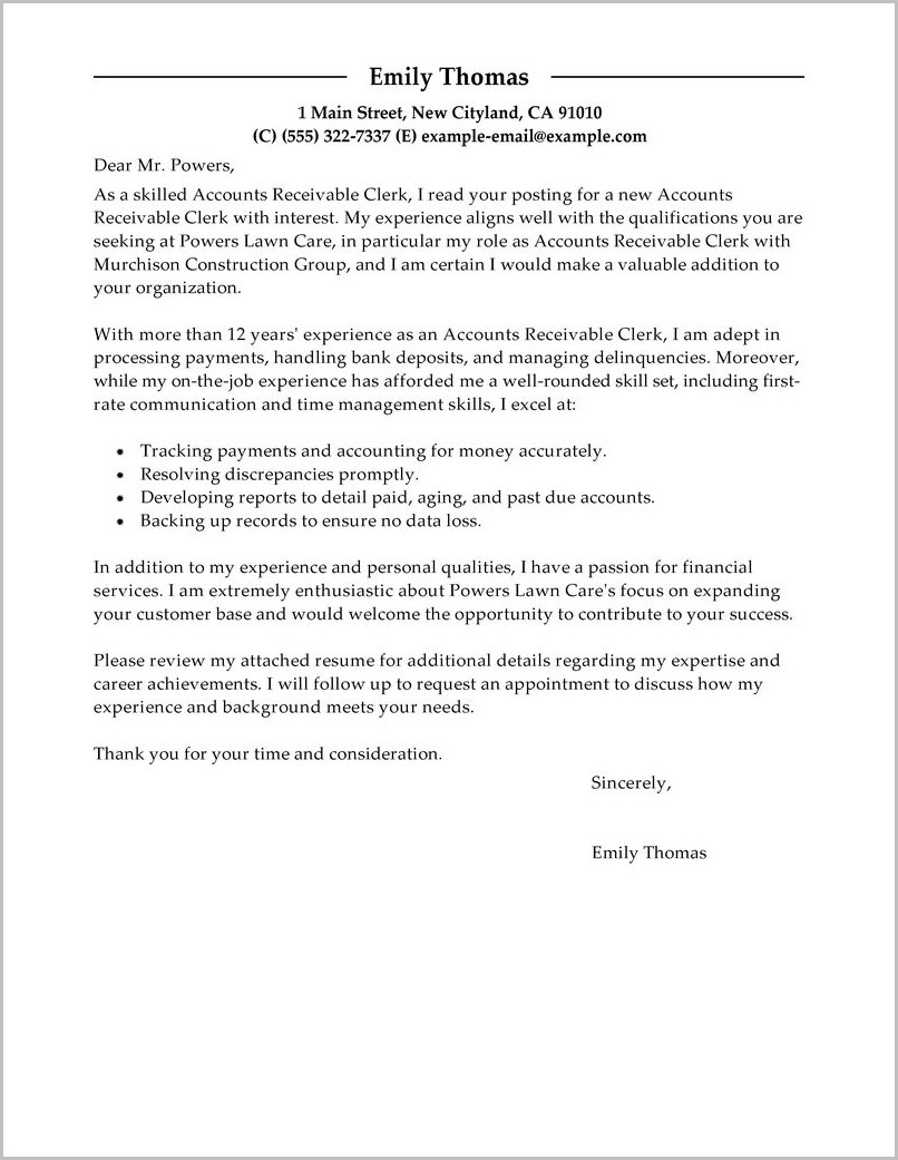 Accounts Payable Assistant Cover Letter Sample