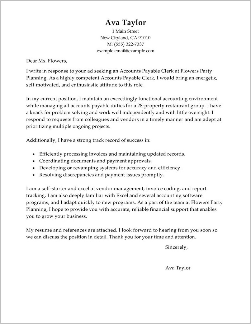 Accounts Payable Cover Letter Sample No Experience