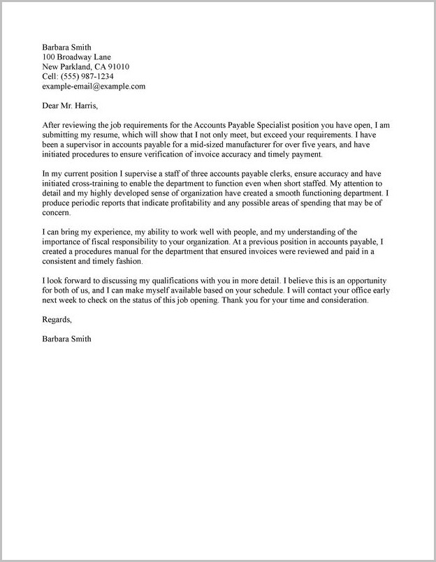 Accounts Payable Cover Letter Samples