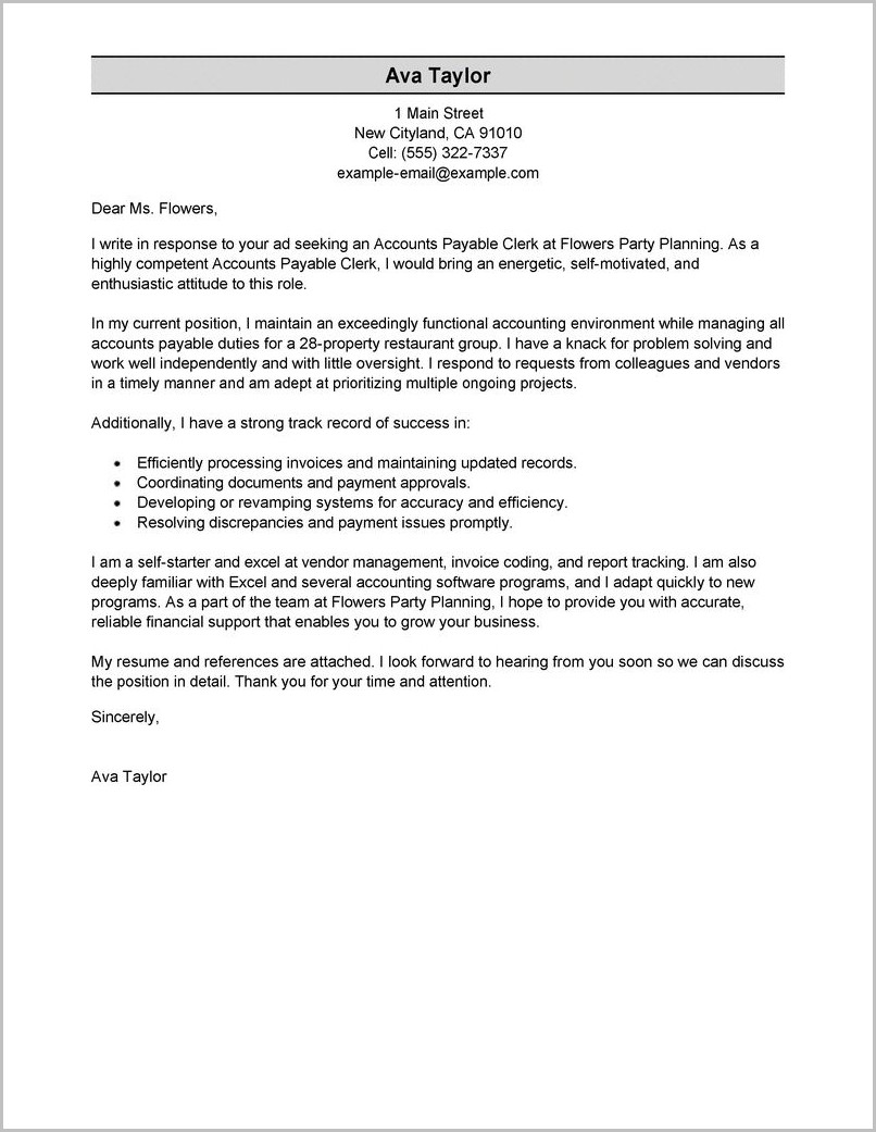 Accounts Payable Cover Letter Template