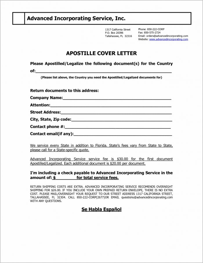 Capital Connection Florida Apostille Cover Letter