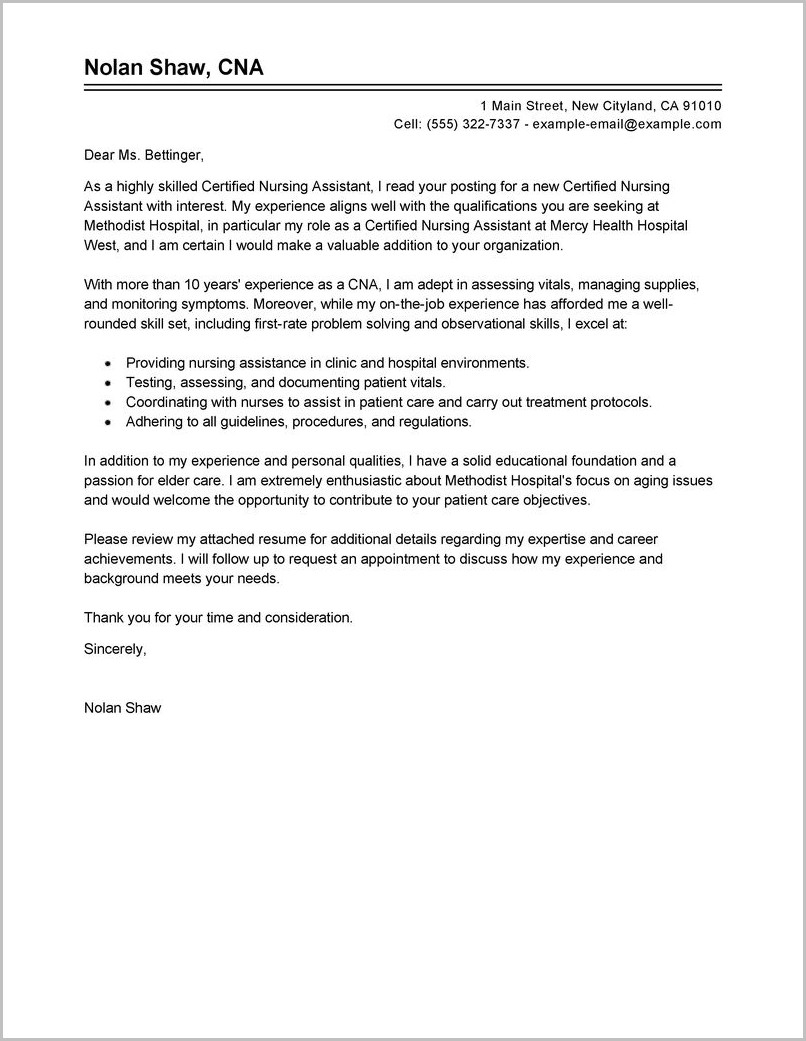 Cna Cover Letter Hospital - Cover Letter : Resume Examples ...