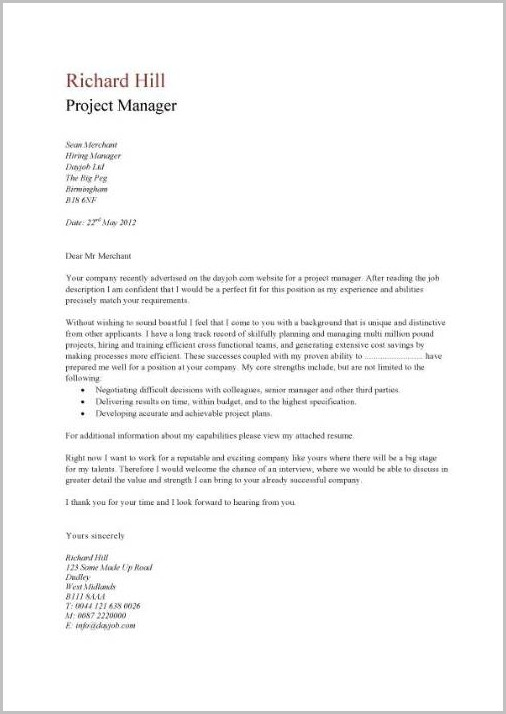Cover Letter Examples For Basic Resume