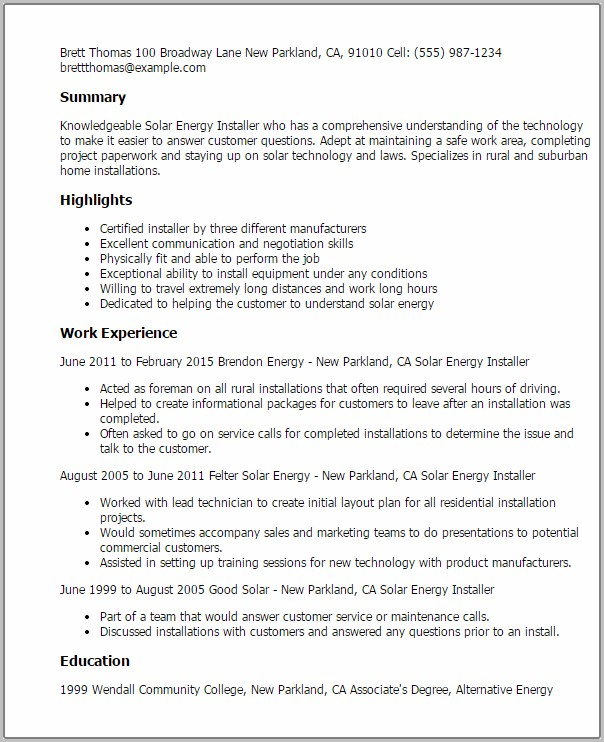 Cover Letter For Electrician Position