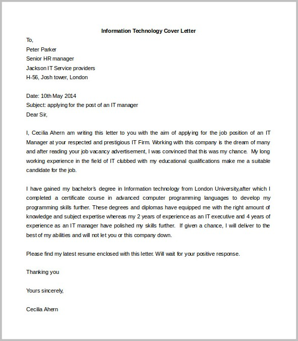 Cover Letter Templates Free Word