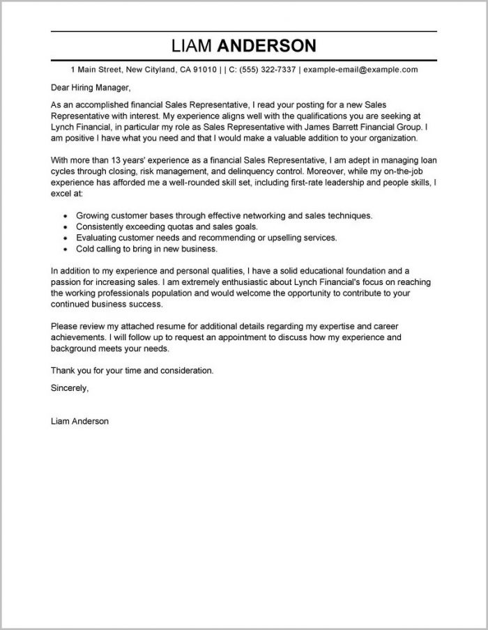 Cover Letters Examples For Resumes