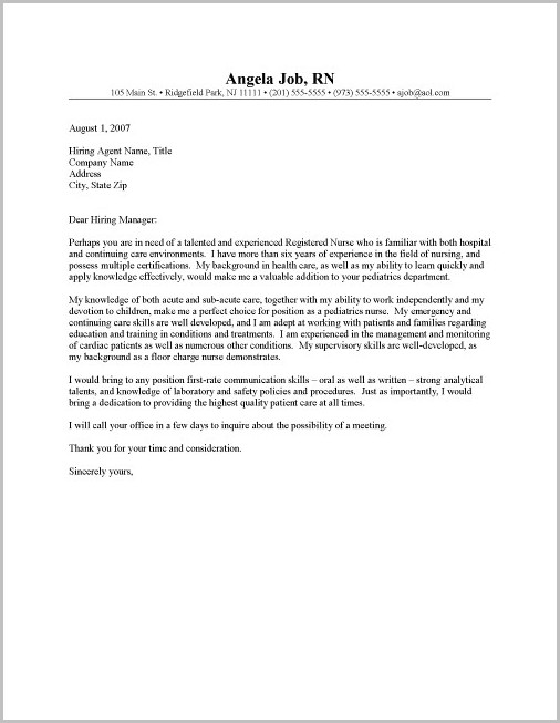 Cover Letters For Resumes Nursing