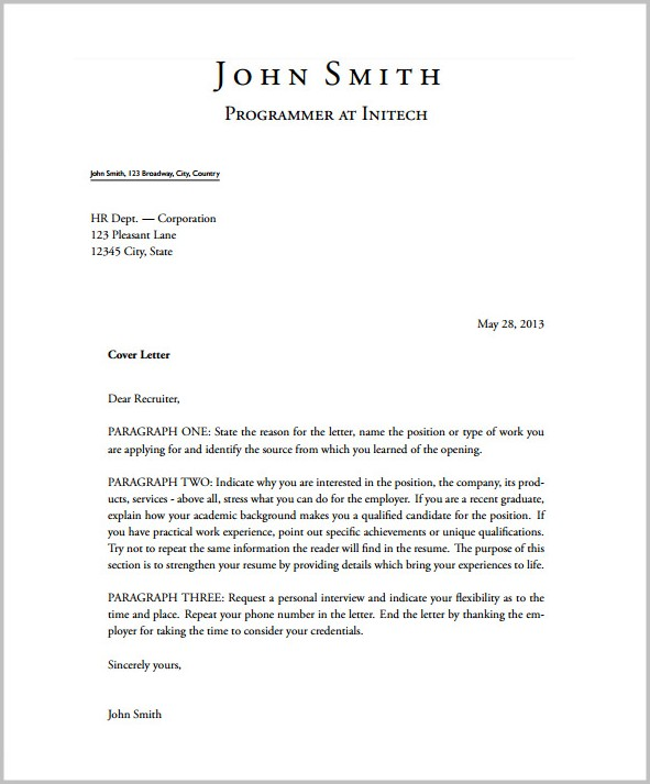 Cover Letters Free Templates