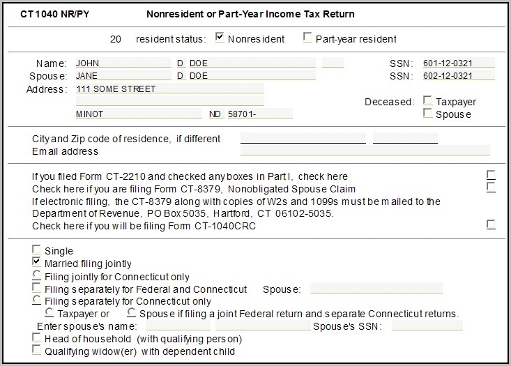 Ct 1040ez Tax Form