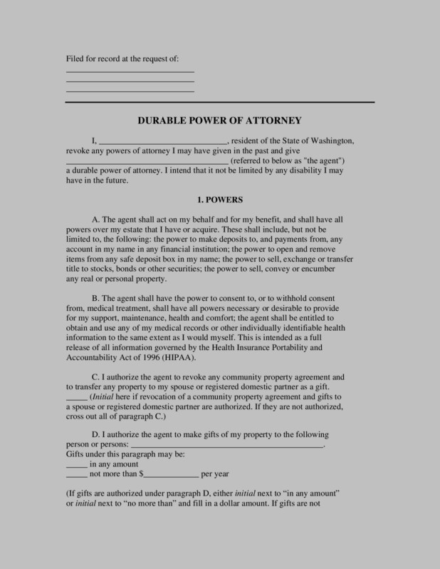 Durable Power Of Attorney Form Dc